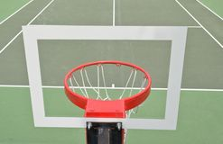 Basketball Hoop From Behind. Basketball hoop taken from behind backstop with tennis court in Rosen Haven, Maryland USA stock images