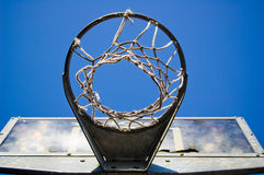 Basketball hoop from below Royalty Free Stock Photo