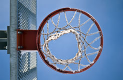 Basketball Hoop From Below. A basketball hoop from below, blue sky background Stock Images