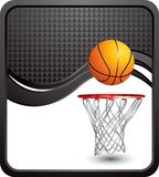 Basketball and hoop on black checkered wave Stock Image