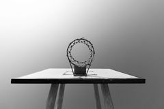 Basketball hoop black/white concept Stock Photography
