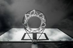 Basketball hoop in black and white Stock Photo