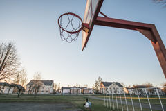 Basketball hoop, blue sky stock image