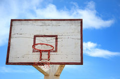 Basketball hoop on blue sky background. The basketball hoop on blue sky background Stock Photo