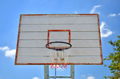 Basketball hoop and a blue sky Stock Image