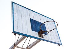 Basketball hoop on blue wood and white iron structure base Royalty Free Stock Photos