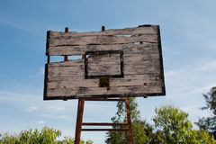 Basketball hoop is broken and wood board damaged Royalty Free Stock Photos