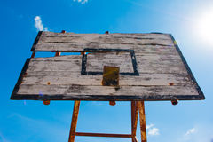 Basketball hoop is broken and wood board damaged Royalty Free Stock Image