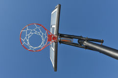 Basketball hoop with chain from below Royalty Free Stock Photos