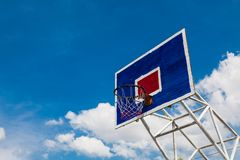 Basketball hoop on clear sky. Brightly colored Basketball hoop Stock Photo