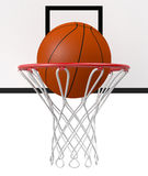 Basketball hoop. Close-up view of a basketball hoop and a ball falling through the hoop (3d render Royalty Free Stock Photo