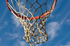 Basketball Hoop with Clouds and Blue Sky Royalty Free Stock Photos