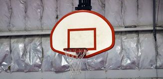 Basketball hoop at community sports center. Basketball hoop at community center in Michigan Royalty Free Stock Image