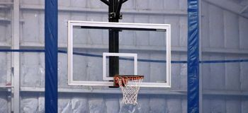 Basketball hoop at community sports center. Basketball hoop at community center in Michigan royalty free stock photo