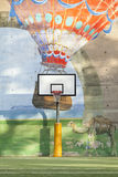 Basketball Hoop Court Graffiti. A basketball court with painted background Royalty Free Stock Photography