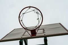 Basketball hoop with an empty basket stock photo
