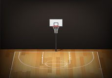 Basketball hoop on empty wooden court Stock Photos