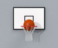 Basketball hoop. Front view of a basketball hoop and a ball falling through the hoop (3d render Stock Photo