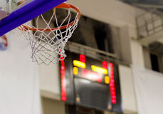 Basketball hoop. During game with scoring table in background Stock Image