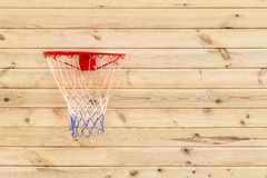Basketball hoop hanged on wooden board background. Playground on backyard of home. Sport equipment for children. Outdoor net fun game recreation court circle stock images