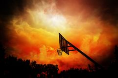 Free Basketball Hoop In Colorful Cloudy Background Stock Image - 117800111