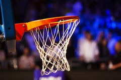 Basketball Hoop In Red Neon Lights - Game Day Royalty Free Stock Images