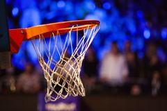 Basketball Hoop In Red Neon Lights - Game Day Royalty Free Stock Image