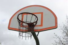 Basketball hoop with metal net Royalty Free Stock Photos