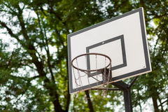 Basketball hoop with metal net Stock Photography