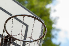 Basketball hoop with metal net Royalty Free Stock Photo