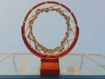 Basketball hoop. Net sport board sky angle special nba play playing shoot shooting  player jump win team fitness workout Stock Photography