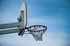 Basketball hoop in outdoor basketball field Royalty Free Stock Photo