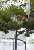 Basketball hoop on an outdoor playground in a  nice city park environment Royalty Free Stock Image