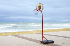Basketball Hoop in the beach Royalty Free Stock Image