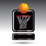 Basketball and hoop over nameplate Royalty Free Stock Photos