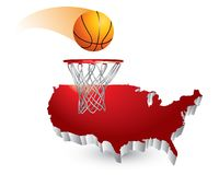 Basketball and hoop over united states icon Stock Photos
