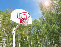 Basketball Hoop in the Park on a background green trees Royalty Free Stock Images