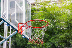 Basketball hoop in the park. With green trees as background Stock Photos