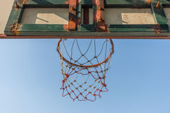 Basketball hoop in park. Basketball hoop make by wooden and ball in park Royalty Free Stock Images