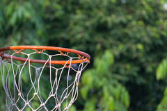 Basketball hoop in park. Basketball hoop make by wooden and ball in park Royalty Free Stock Photography