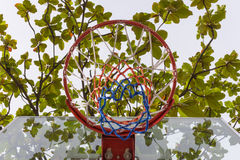 Basketball hoop in park. Basketball hoop make by wooden and ball in park Royalty Free Stock Photos