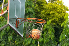 Basketball hoop in park Stock Images