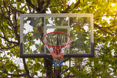 Basketball hoop in park. Basketball hoop make by wooden and ball in park , process in soft orange sun light style Royalty Free Stock Photography