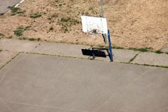 Basketball hoop in playground outdoor. Urban city scene Stock Photos