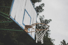 Basketball hoop in the public arena. Basketball Hoop against the sky Stock Photos