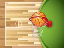 Basketball hoop. A realistic vector hardwood textured basketball court with basketball in the center court Stock Photo
