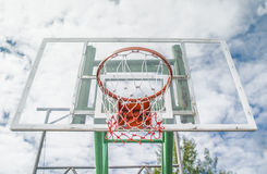 Basketball hoop. Red Basketball hoop with blue sky Royalty Free Stock Photography