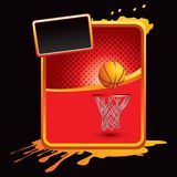 Basketball and hoop on red halftone grungy ad Stock Photos