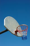 Basketball hoop in red white and blue. Red White and Blue Basketball net, white backboard and clear blue sky Royalty Free Stock Image