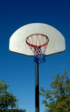 Basketball hoop in red white and blue. Red White and Blue Basketball net, white backboard and clear blue sky Stock Image